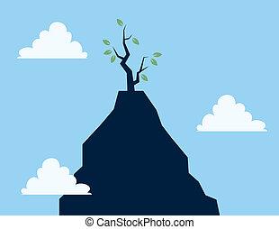 árbol, en, acantilado