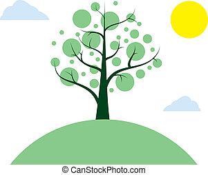 árbol, en, un, colina
