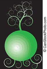 árbol, encima, el, esfera verde