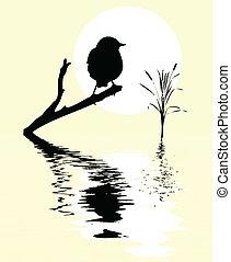 árbol, entre, agua, rama, pequeño, pájaro