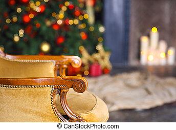 árbol, escena, regalos, Plano de fondo, silla, Chimenea, navidad