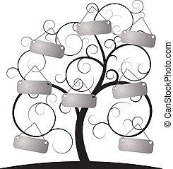 árbol, espiral, etiqueta