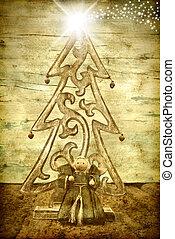 árbol, estrella, belén, ángel, navidad