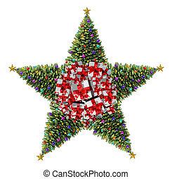 árbol, estrella, navidad
