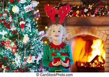 árbol, eva, navidad, niño, chimenea, navidad