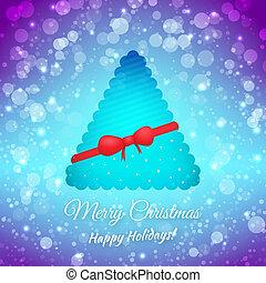 árbol., festivo, saludo, bow., confuso, fondo., vector, cinta, feliz navidad, tarjeta