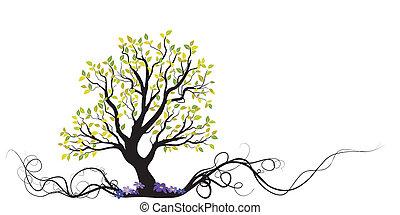 árbol, flores, vector, raíz