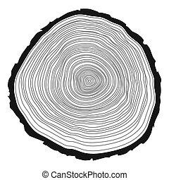 árbol, fondo., anillos
