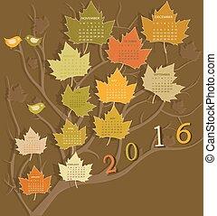 árbol, forma, calendario, para, 2016