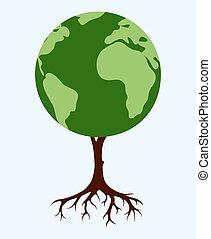 árbol, formado, como, el mundo, mapa