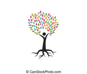 árbol genealógico, logotipo, plantilla