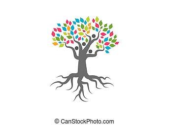 árbol genealógico, logotipo, vector