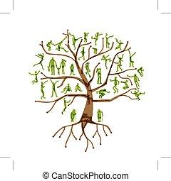 árbol genealógico, parientes, gente, siluetas