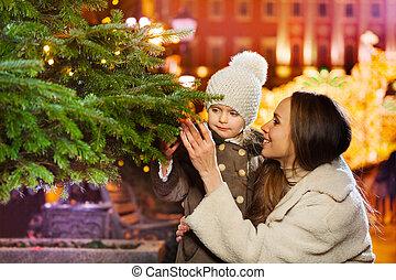 árbol genealógico, verde, cierre, sonriente, navidad