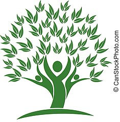 árbol, gente, verde, naturaleza, icono, logotipo