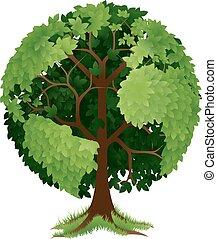 árbol, globo de la tierra