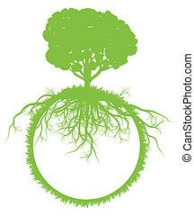 árbol, globo del mundo, ecología, vector, plano de fondo, concepto, con, raíces