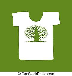 árbol grande, camiseta, diseño, verde blanco, su