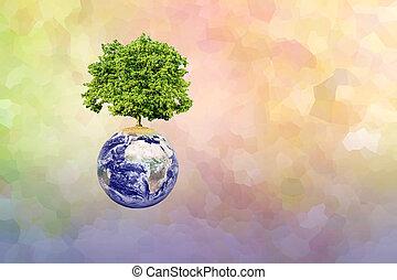 árbol grande, en, tierra, y, moderno, resumen, plano de...