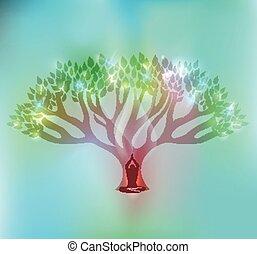 árbol grande, y, mujer, en, el, frente, de, el, árbol, con, brillante, leafs