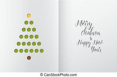 árbol, hecho, agujeros, navidad, minimalistic