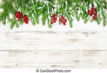 árbol hoja perenne, decoration., árbol, bayas, navidad, rojo