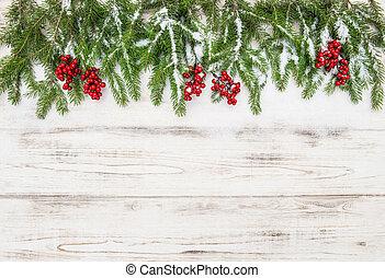 árbol hoja perenne, decoration., rama de árbol, bayas, navidad, rojo