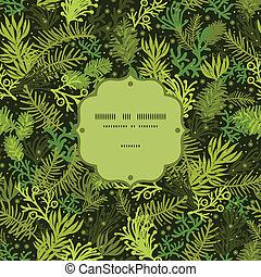 árbol hoja perenne, patrón, marco, árbol, seamless, plano de...