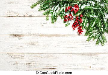 árbol hoja perenne, ramas, árbol, decoración, fondo., bayas, navidad, rojo
