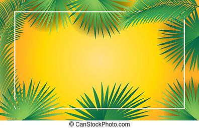 árbol, hojas, palma, marco, sukkot