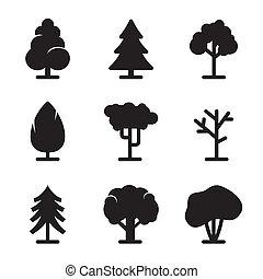 árbol, iconos, conjunto