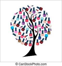 árbol, ilustración, clavo, realista, vector, polaco