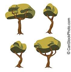 árbol, ilustraciones, conjunto