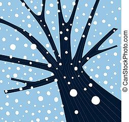árbol invierno, con, caer, nieve