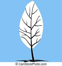 árbol invierno, cubierto, con, nieve, en, el, cielo azul