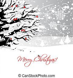 árbol invierno, diseño, bullfinches, tarjeta de navidad