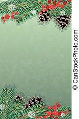 árbol invierno, plano de fondo, bayas, navidad, rojo