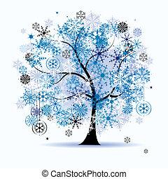 árbol invierno, snowflakes., navidad, holiday.