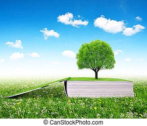 árbol, libro, abierto, naturaleza