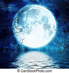 árbol, lleno, ramas, contra, luna