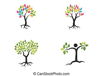árbol, logotipo, vector