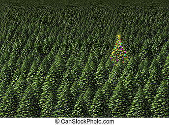 árbol, mágico, navidad