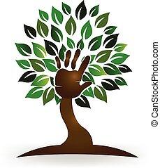árbol, mano, símbolo, logotipo