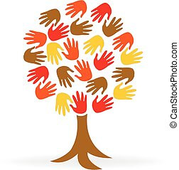 árbol, manos, unidad, gente, logotipo