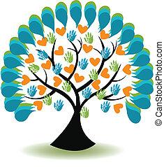 árbol, manos, y, corazón, logotipo