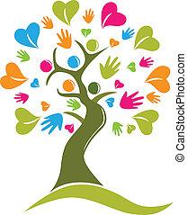 árbol, manos, y, corazones, figuras, logotipo, icono, vector