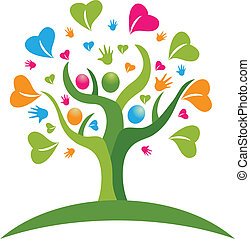 árbol, manos, y, corazones, figuras, logotipo
