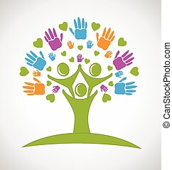 árbol, manos, y, corazones, gente, logotipo