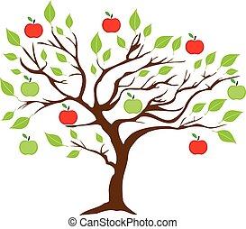 árbol, manzana