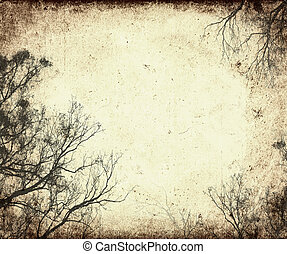árbol, marco, grunge, siluetas